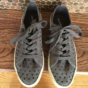 Shoes - Gray espadrilles sneakers size 10. Star cutouts